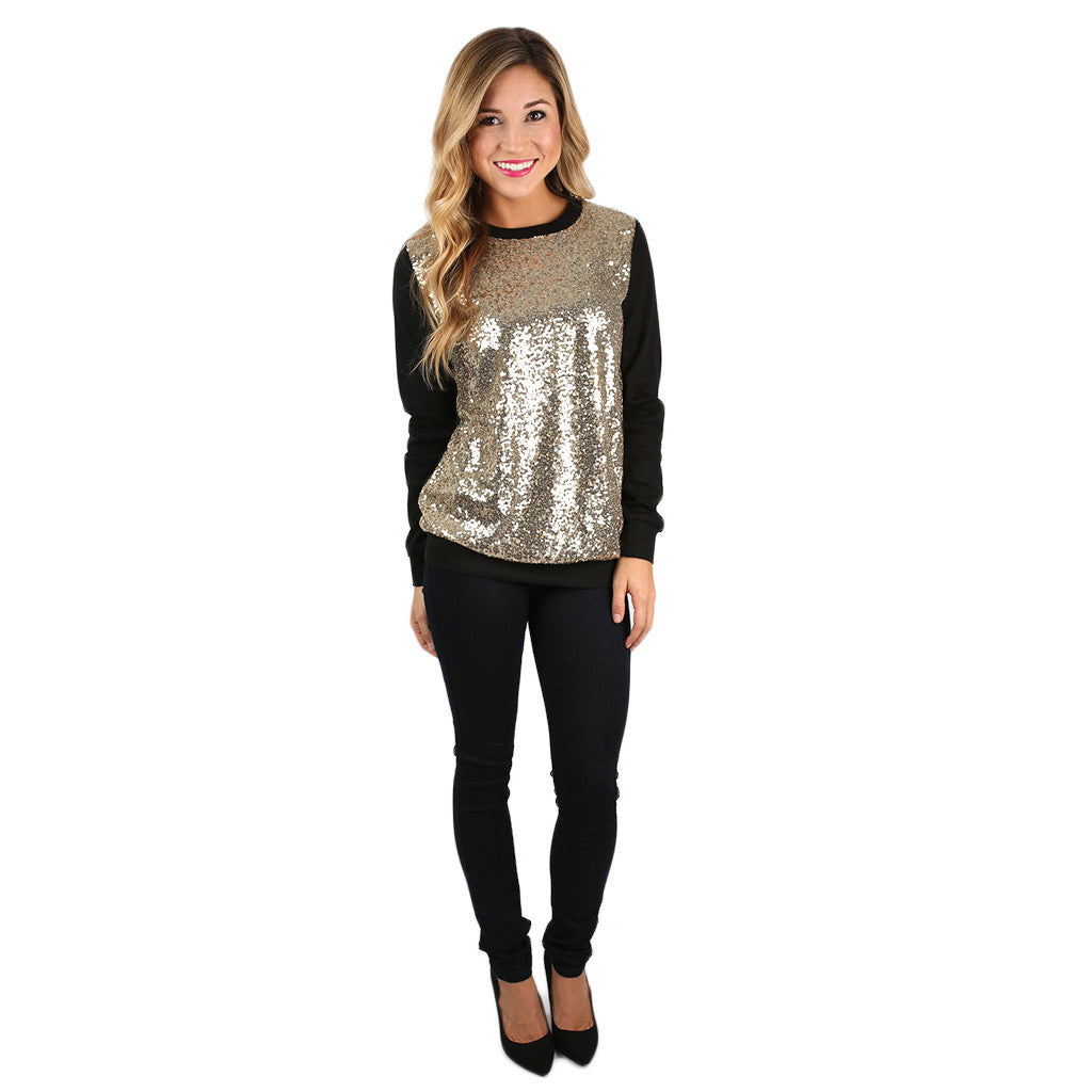 Sparkling In The City Top in Black