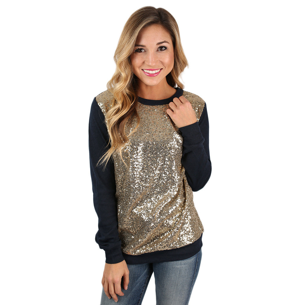 Sparkling In The City Top in Navy