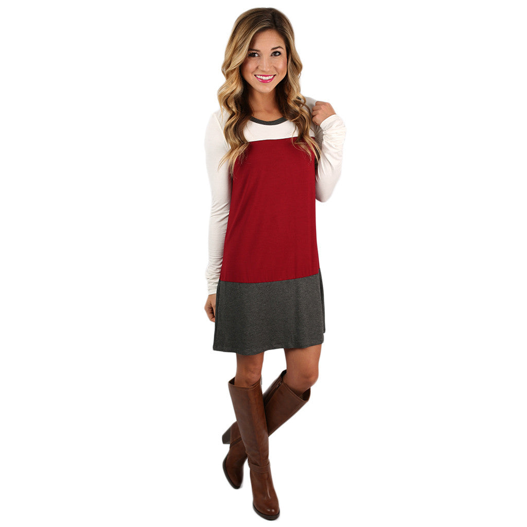 Striped Easy Shift Dress in Wine