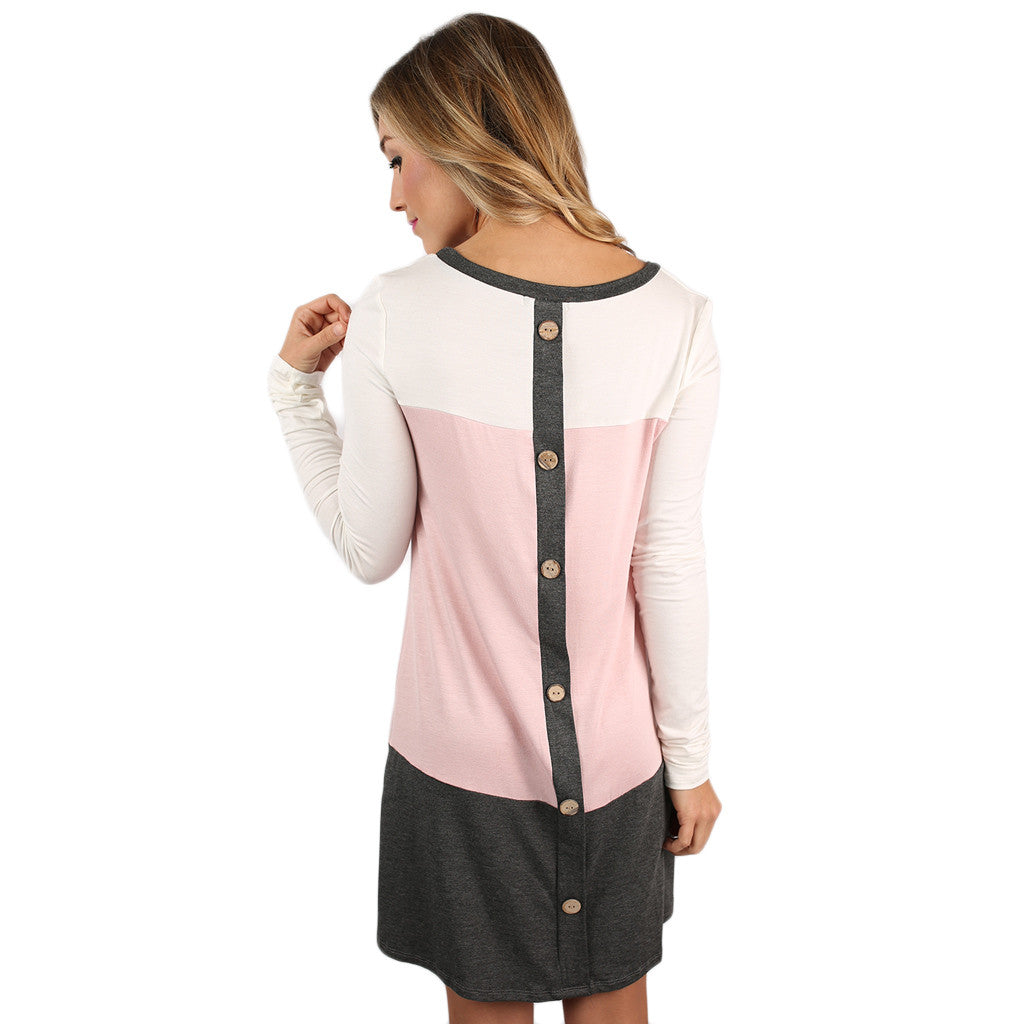 Striped Easy Shift Dress in Pink