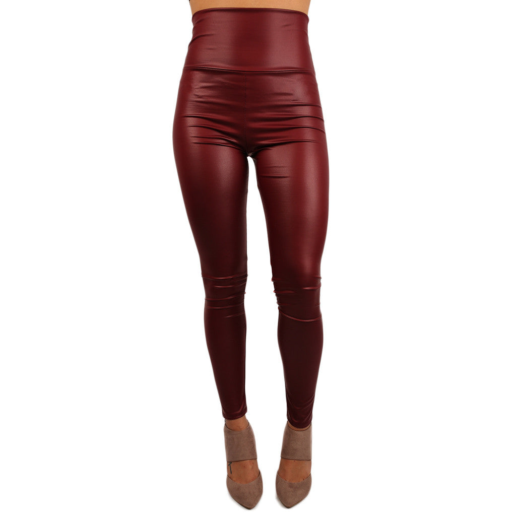 The Runway High Waist Faux Leather Legging Burgundy