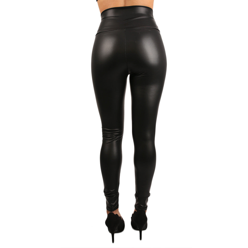 The Runway High Waist Faux Leather Legging Black