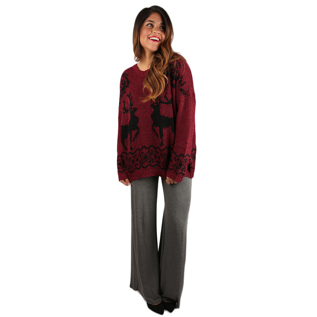 Over the River Sweater Burgundy
