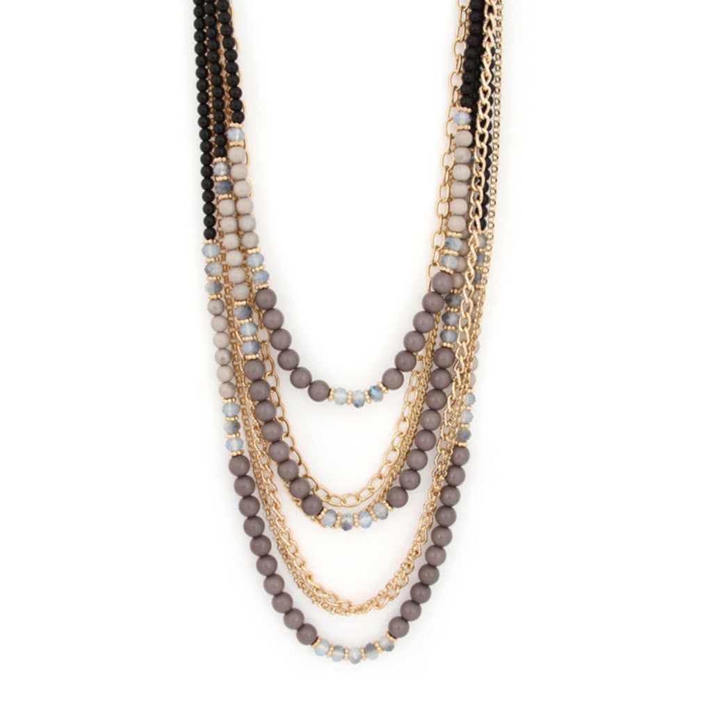 Lovely Layers Necklace in Grey
