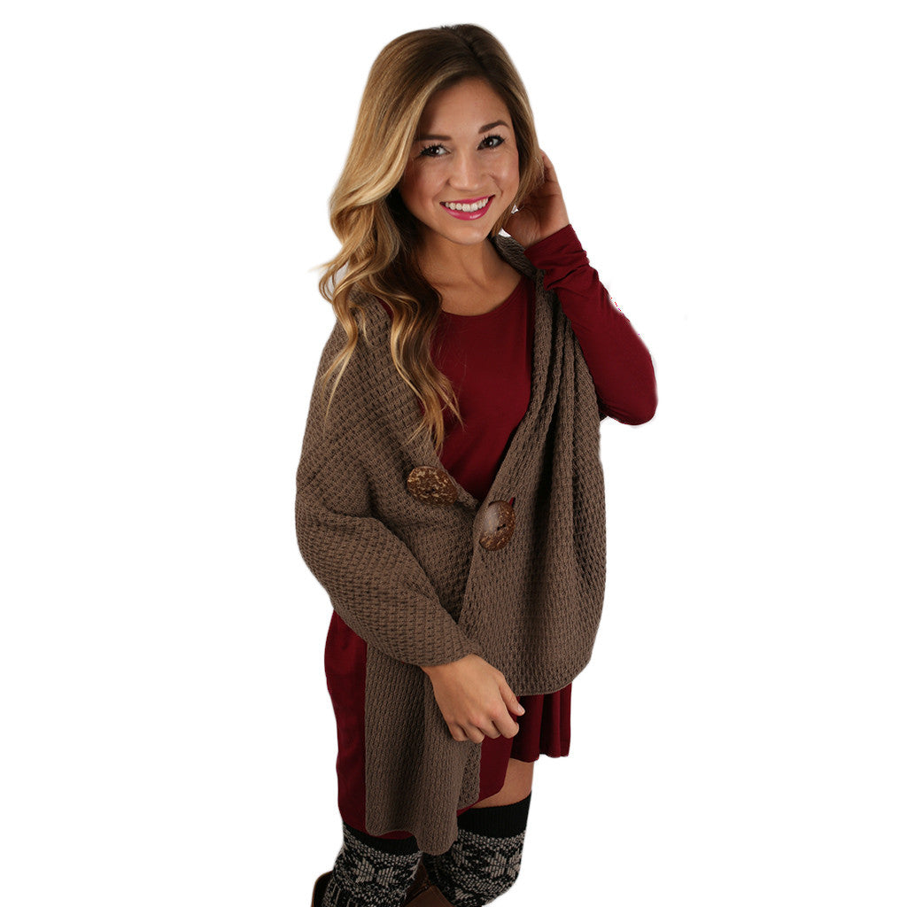 Button Me Up Multi Wear Shawl in Mocha