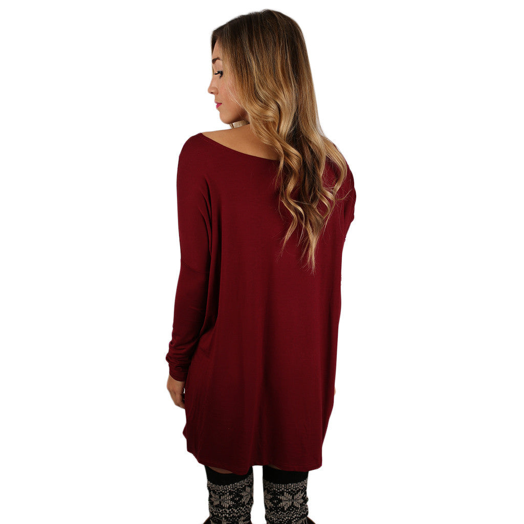 At First Crush Tunic in Burgundy