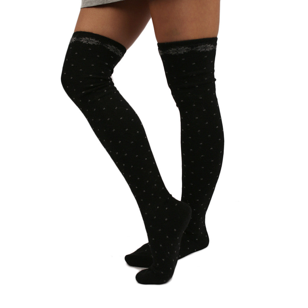 Dots & Glam Sweater Sock in Black