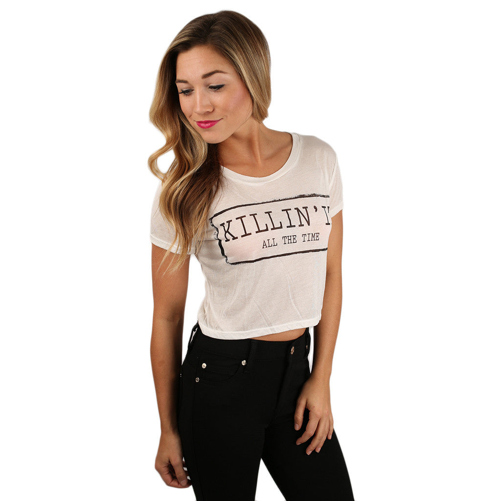 Basically...Crop Tee in White