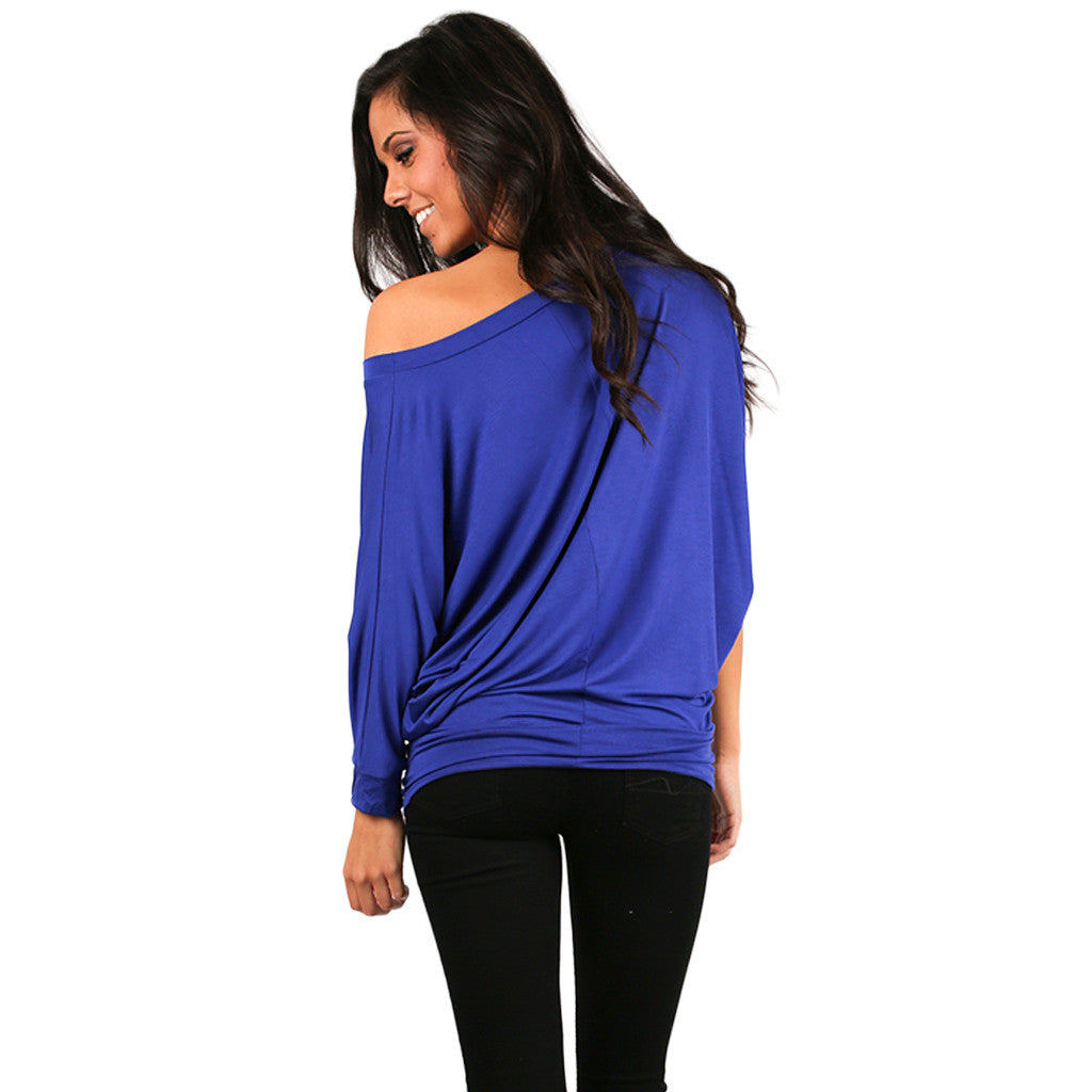 Color Me Lovely Dolman Tee in Royal Blue
