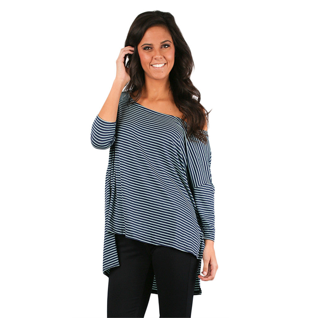 Stripe Crush Tee in Navy
