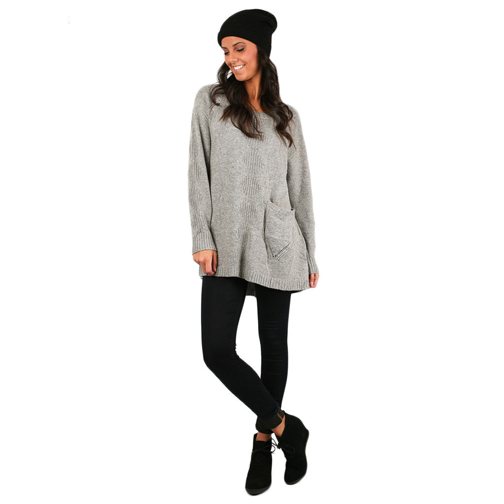 Pep In My Step Tunic Sweater in Grey