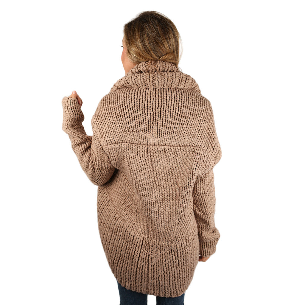 Cozy Cuddles Cardigan in Taupe
