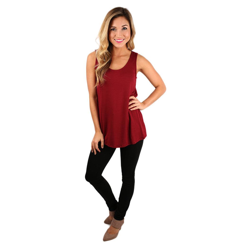 At First Crush Scoop Tank Burgundy