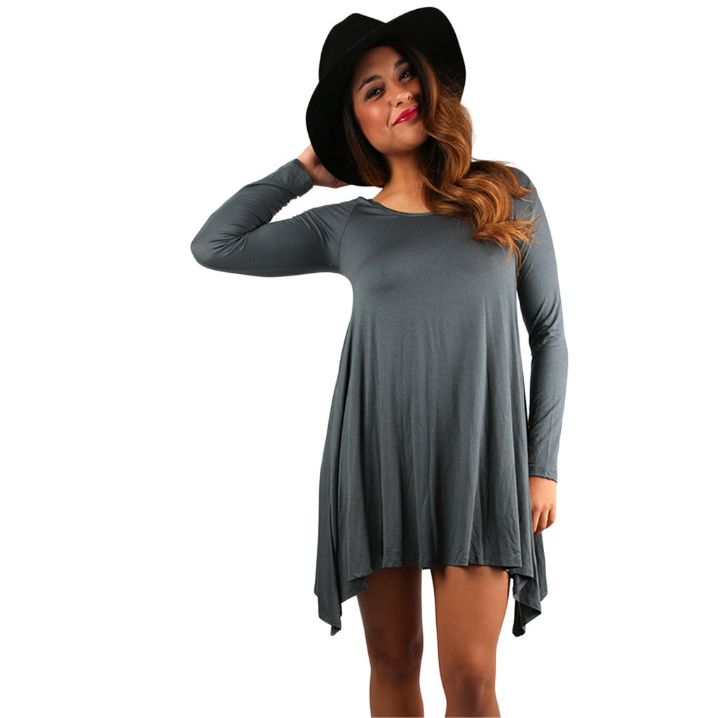 Flowy & Fab Long Sleeve Tunic in Dark Slate