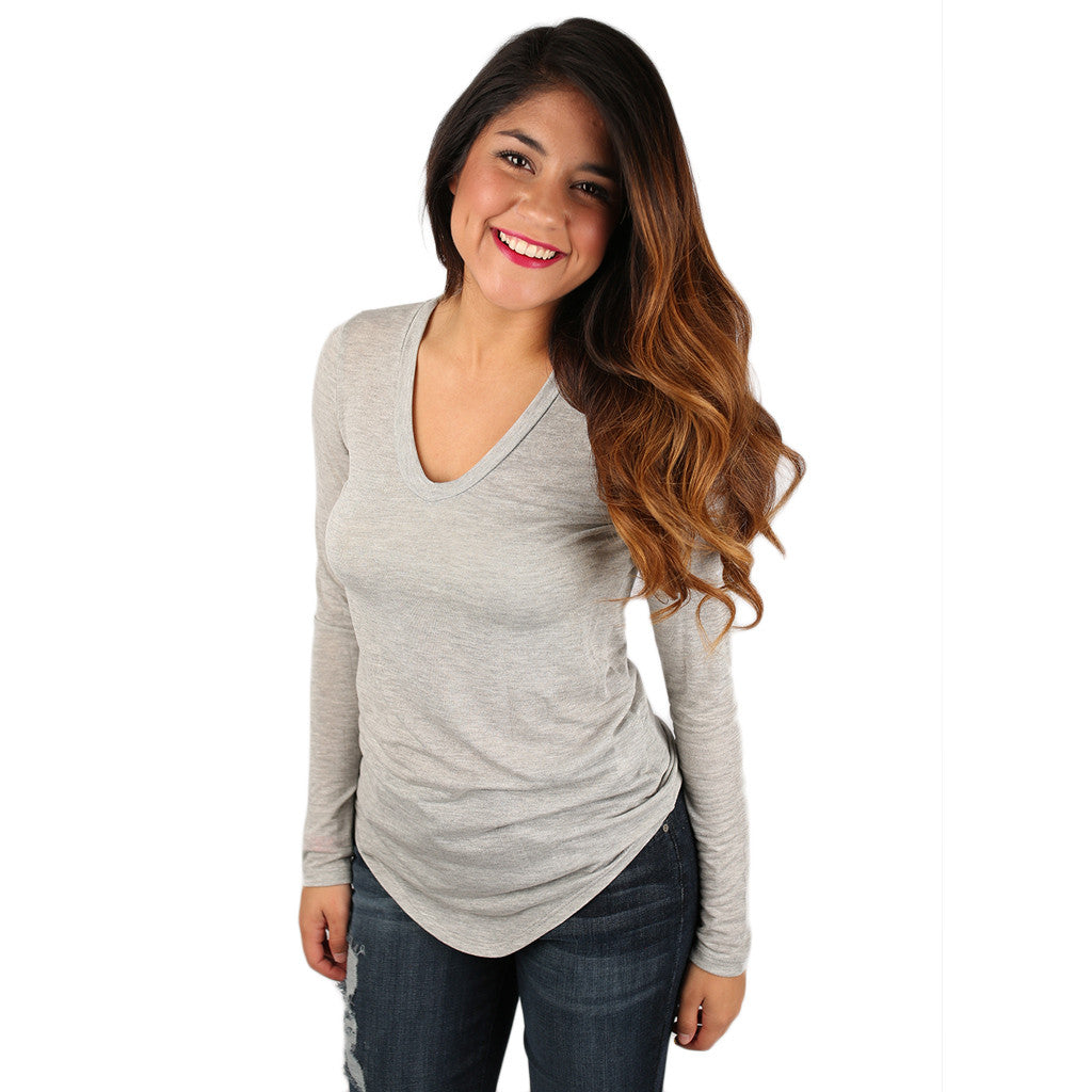 So Dreamy V-Neck Tee in Heather Grey