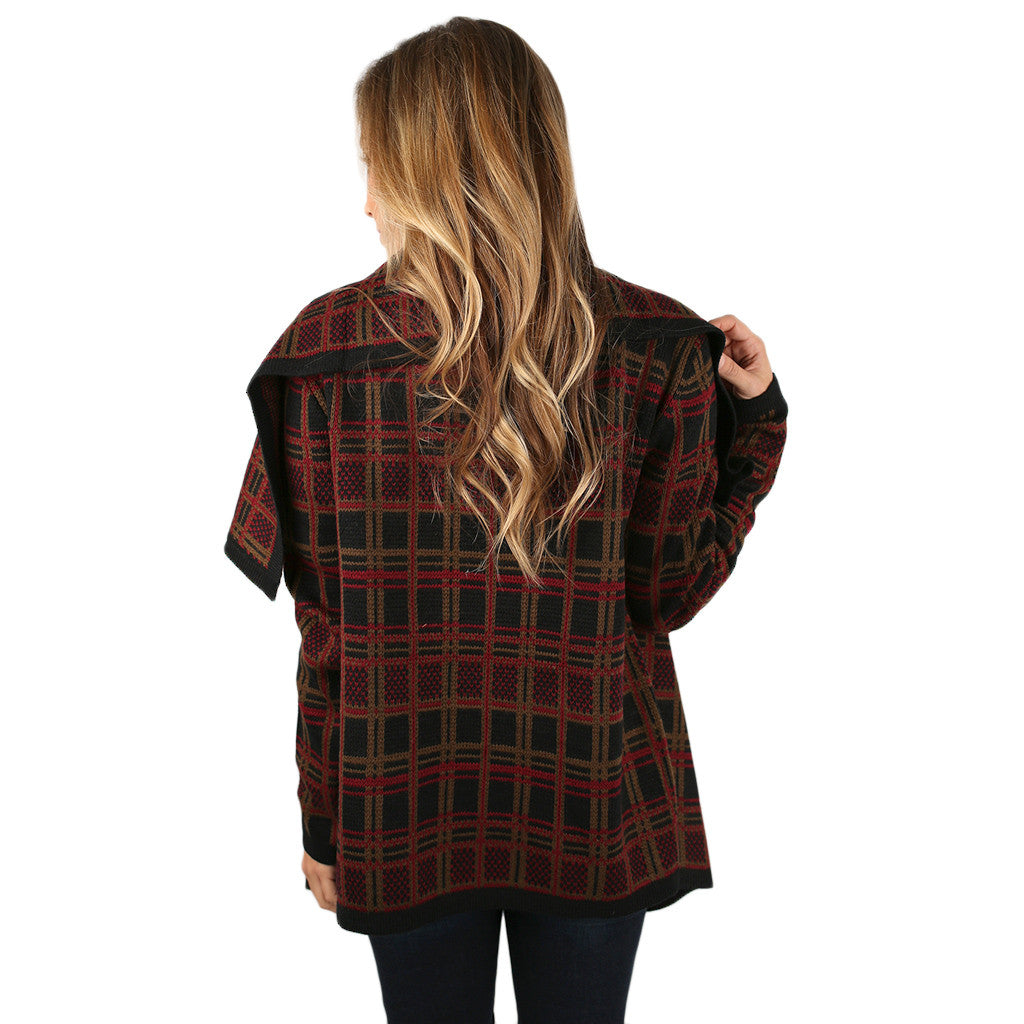 Plaid for Keeps Cardigan Burgundy