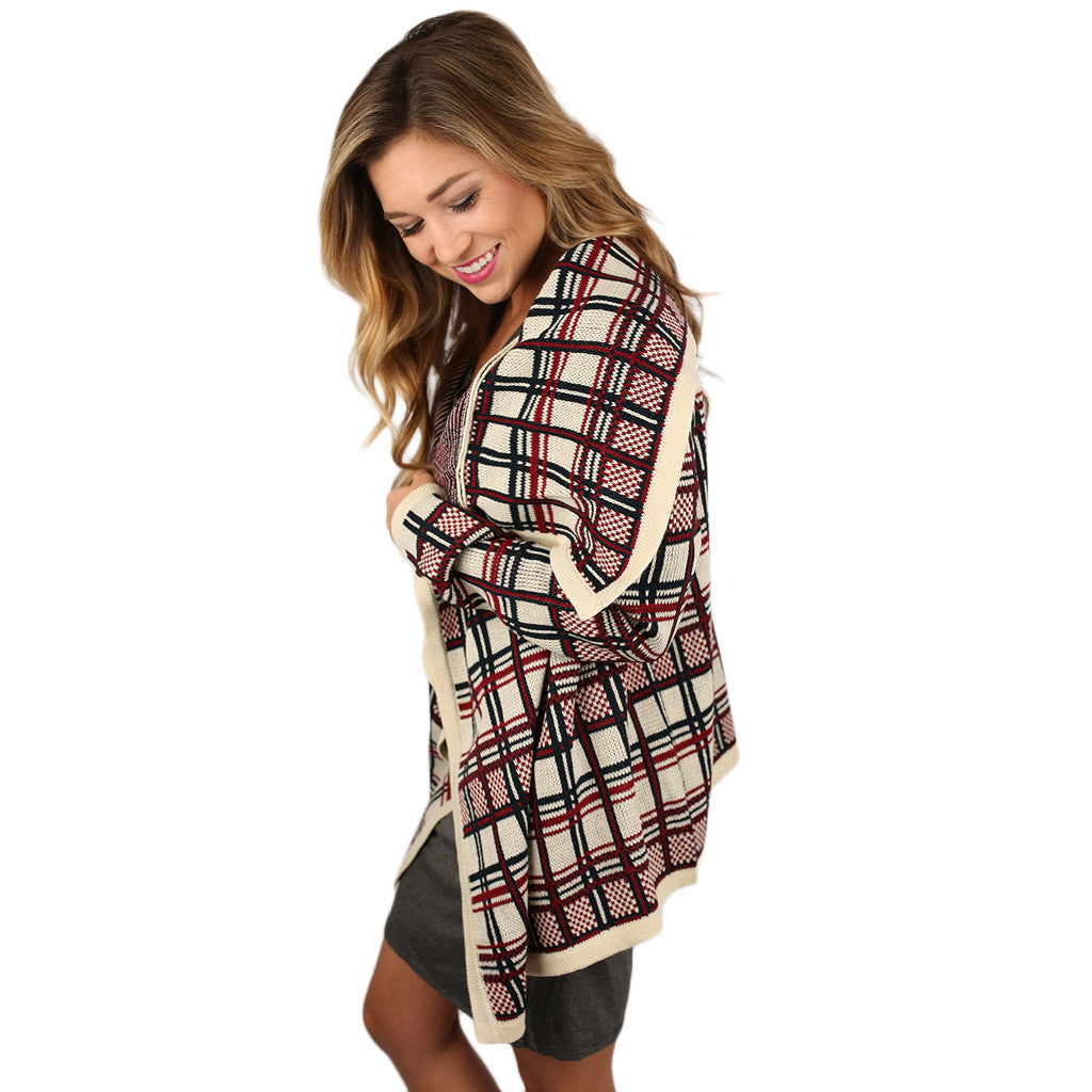 Plaid for Keeps Cardigan Ivory