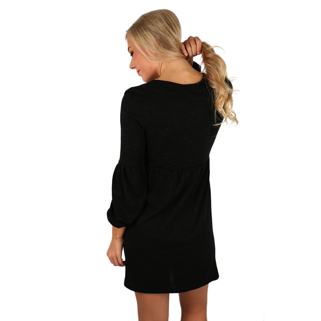 Dance It Off Sweater Dress in Black