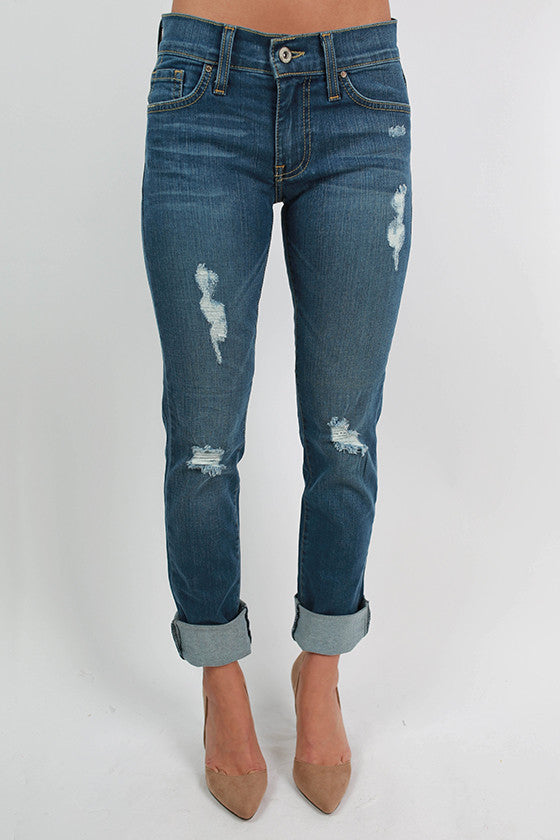 Rolled Distressed Denim Medium Wash