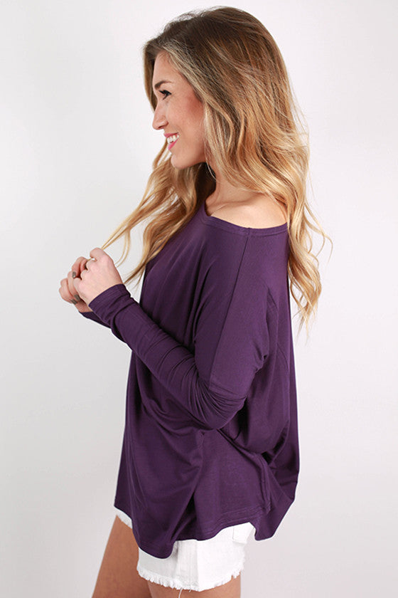 PIKO Long Sleeve Tee in Dark Purple
