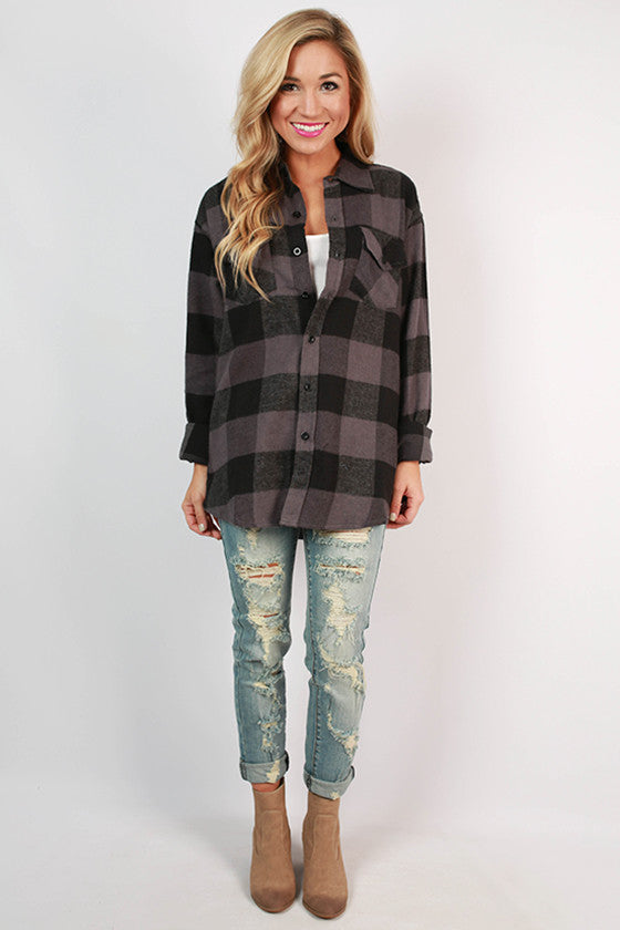 Cozy For Days Unisex Flannel in Charcoal