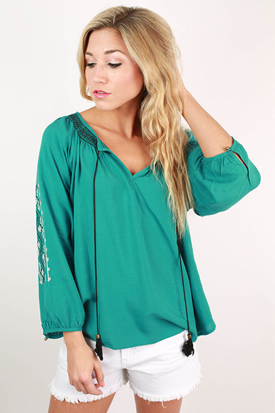 Pretty Boho Tunic in Teal