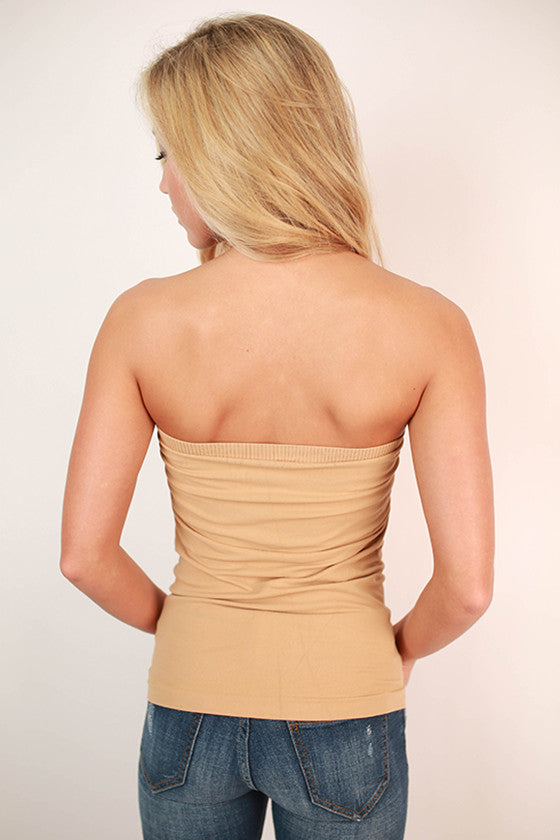 Strapless Seamless Top in Camel