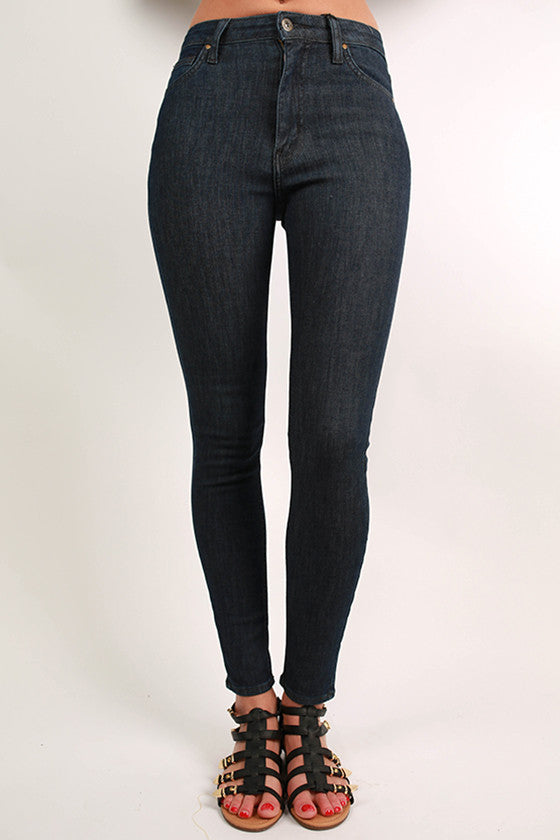Slimming High Rise Super Dark Wash Skinny