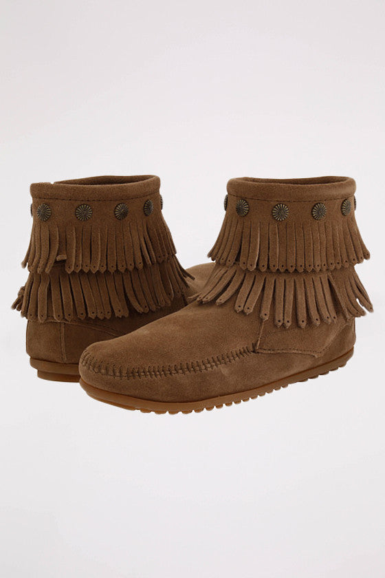 Double Fringe Side Zip Boot Taupe