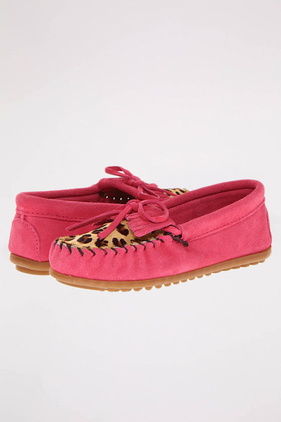 Leopard Kilty Moc (Children's) Hot Pink