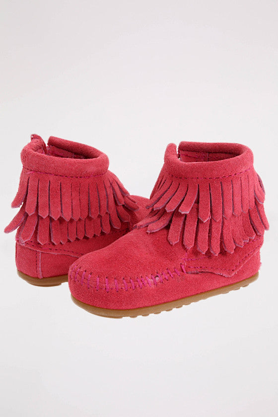 Double Fringe Side Zip Bootie (Infants's) Pink