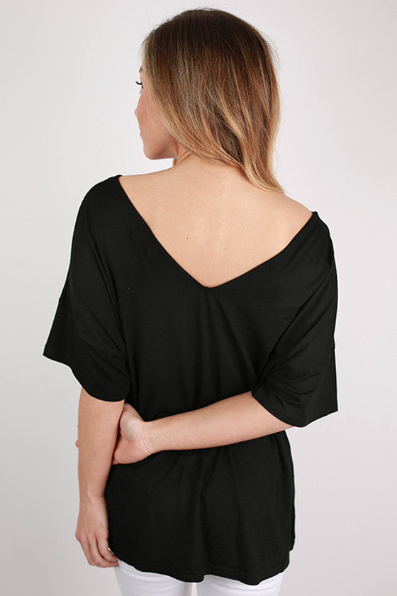 PIKO Relaxed Fit V-neck Tee in Black