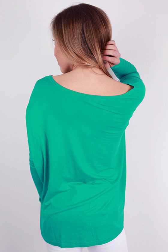 PIKO Long Sleeve Tee in Bright Turquoise