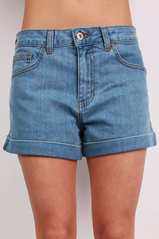 Denim Cuffed Shorts in Light Blue