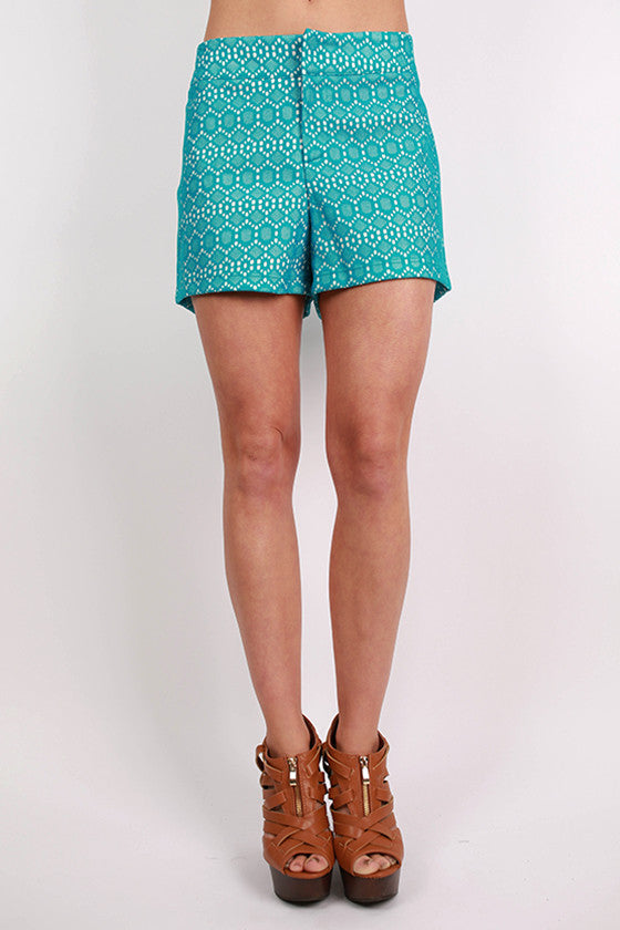 Diamonds For Days Shorts Teal