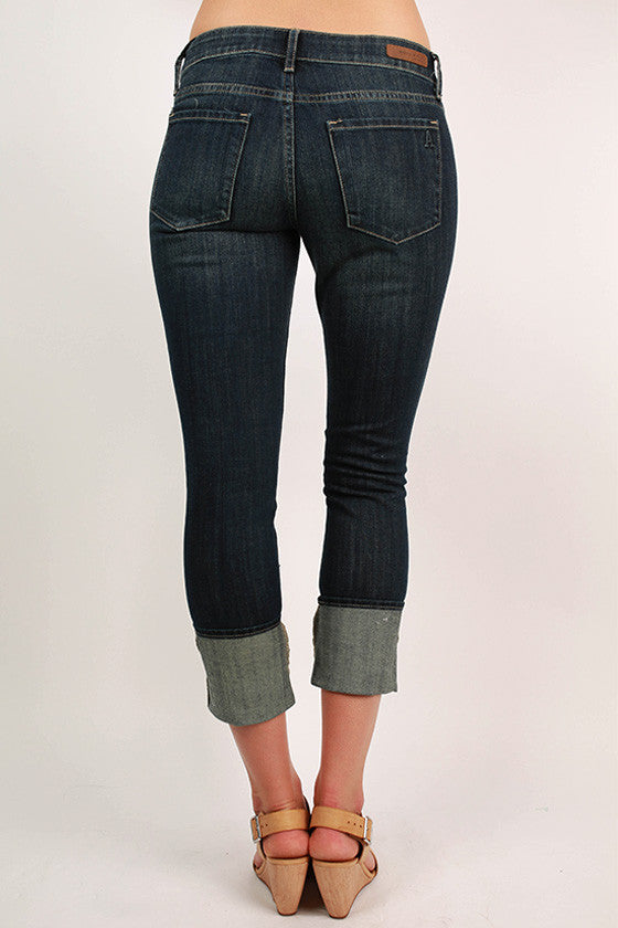 High Rise Cuff Jeans in Topaz