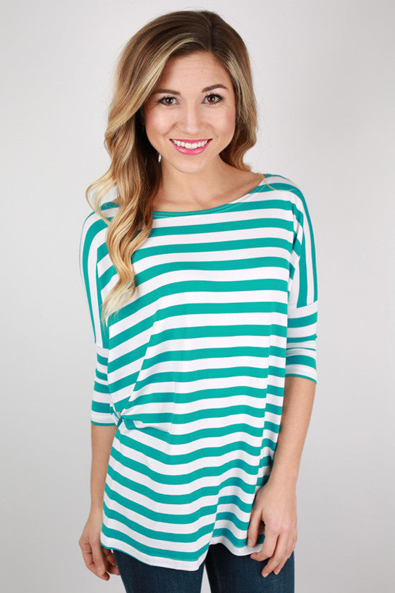 PIKO Striped Tee in Aqua