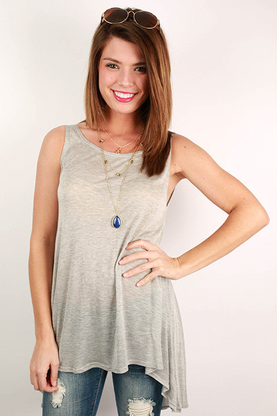 Deep Back Jersey Tank in Grey