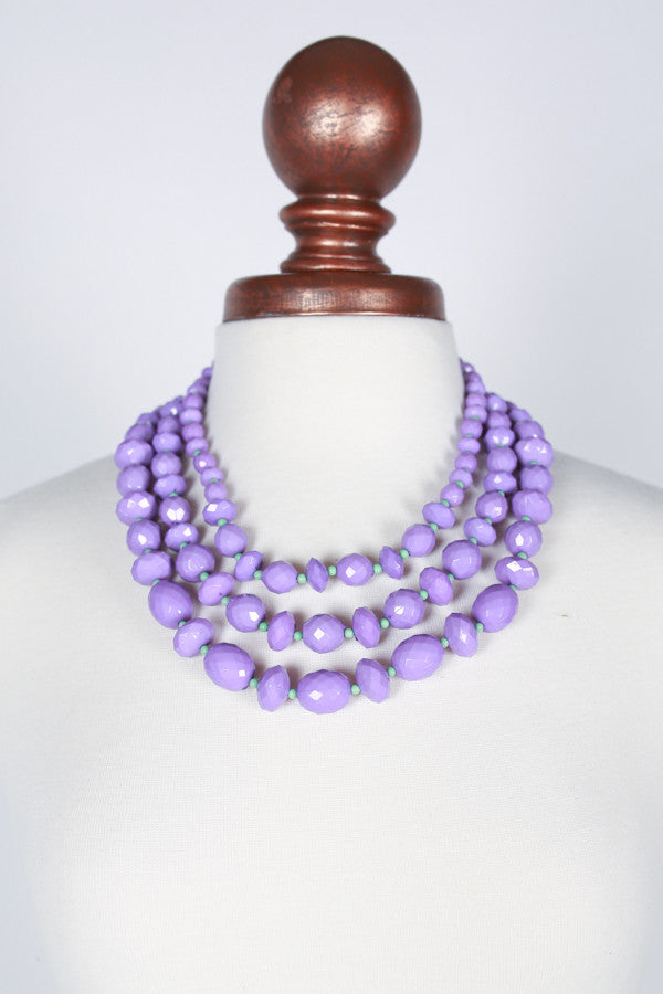 Lovely Strands Necklace in Purple