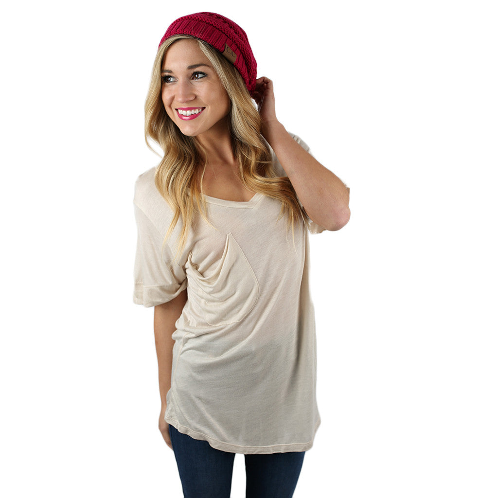 Fit Me Perfect V-Tee in Oatmeal