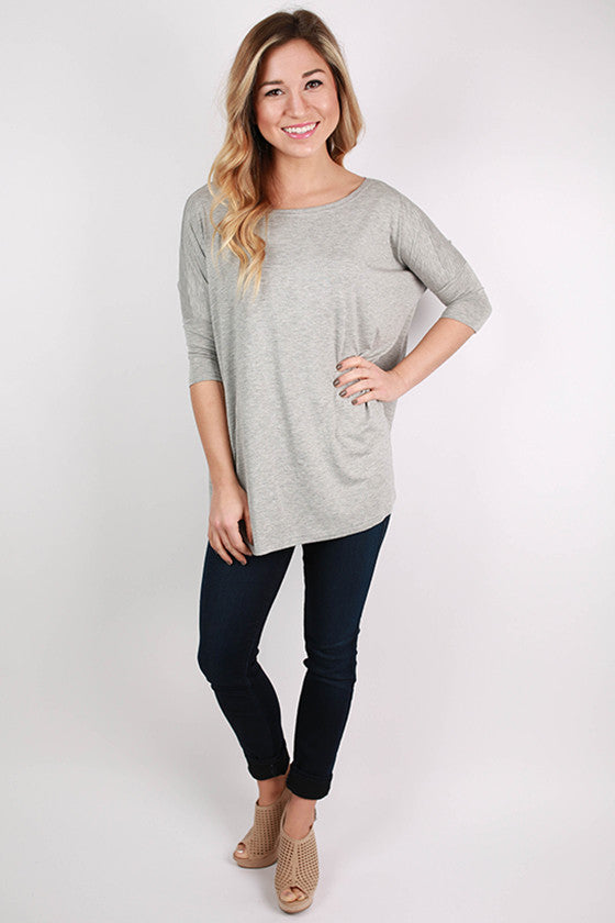 PIKO Mid Sleeve Tee in Heather Grey