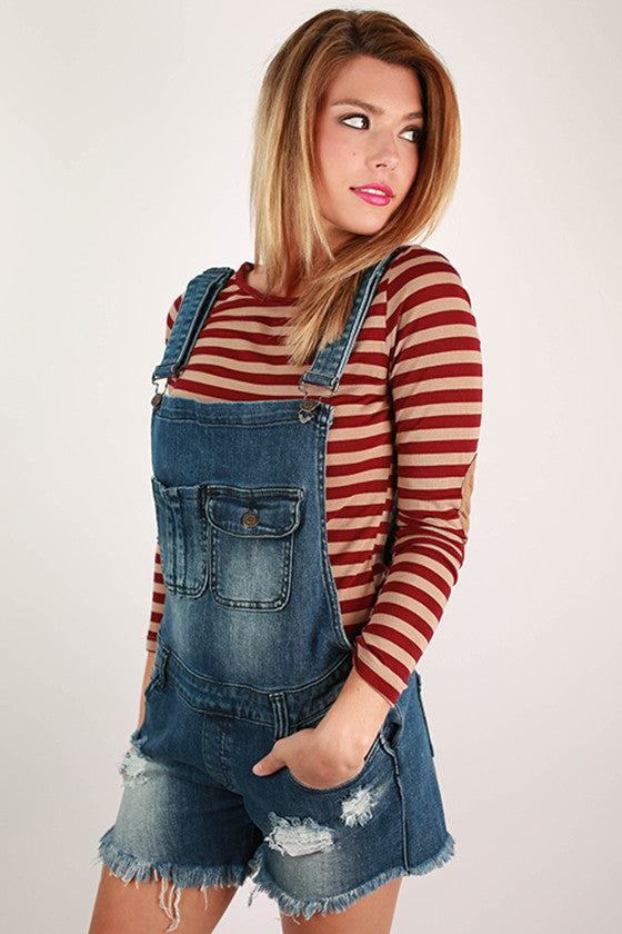 Distressed Faded Denim Overalls