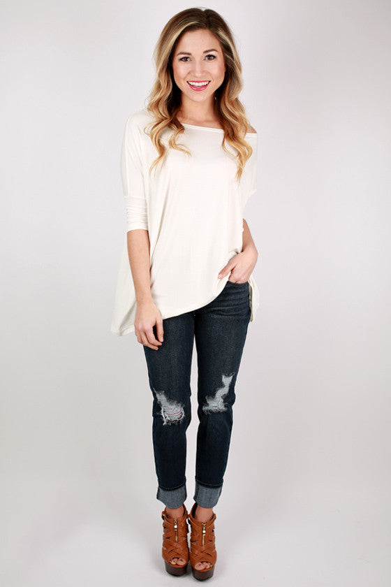 PIKO Mid Sleeve Tee in Off White