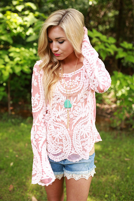 Time for Tea Top in Coral