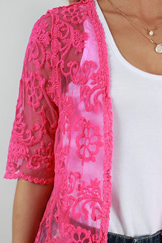 Tea Time Lace Overlay in Hot Pink