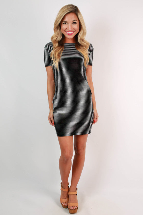 PIKO Stripe Tee Dress in Black