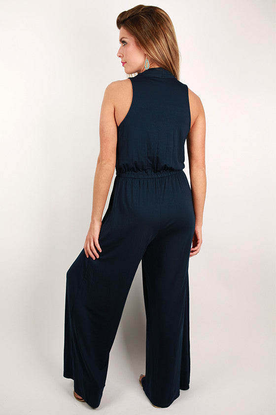Keeping it Breezy Jumpsuit in Navy