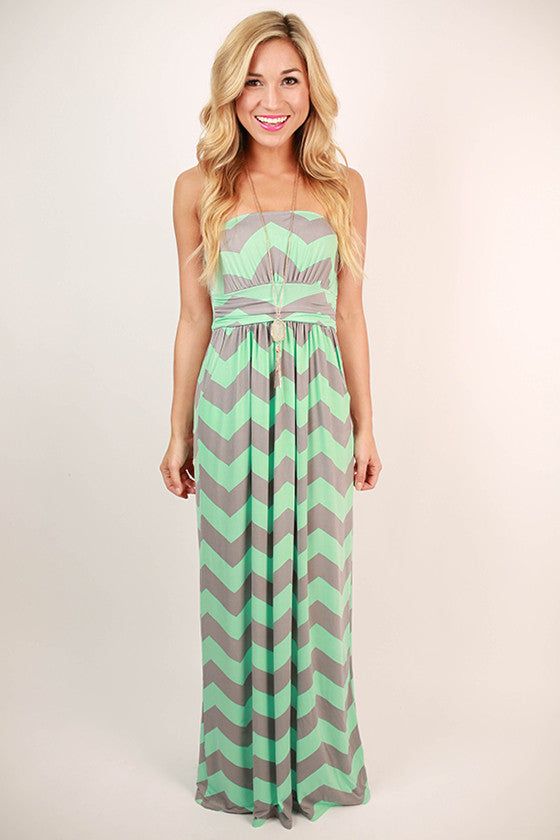 Sunkissed Stripe Maxi in Mint and Grey