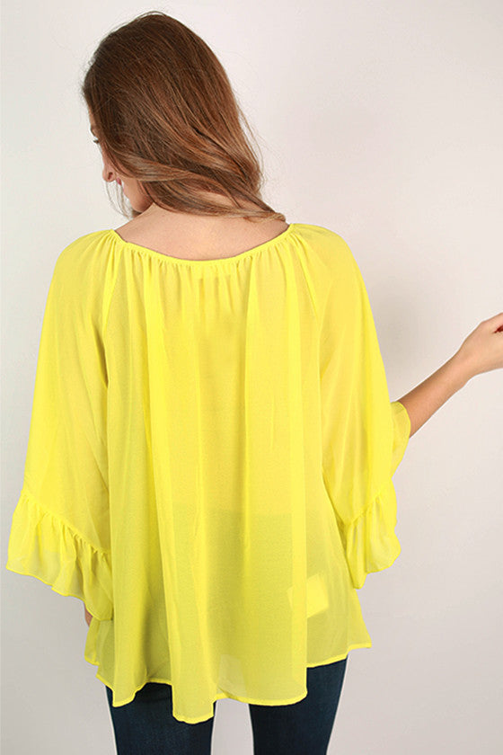 Sweet & Care Free Top in Neon Yellow