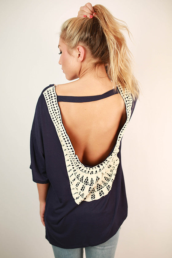 Keeping It Breezy Top in Navy